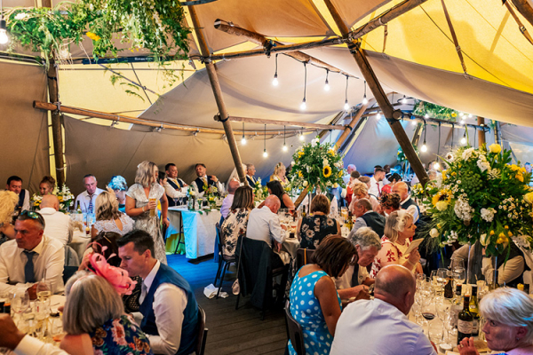 Wedding breakfast in the marquee at Upper House Castle Wedding Venue in Derbyshire | CHWV