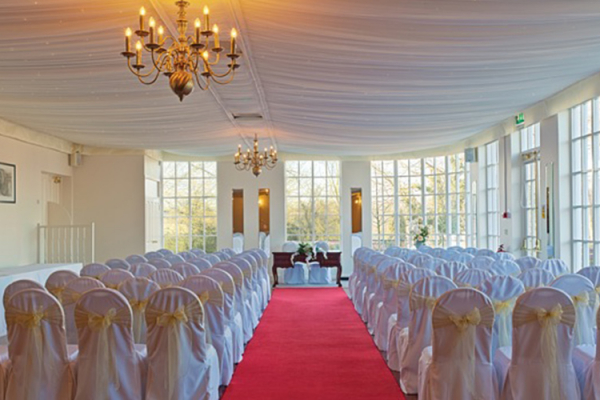 A civil ceremony at Warwick House in Warwickshire