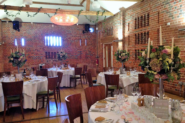 A barn wedding reception at Wasing Park in Berkshire