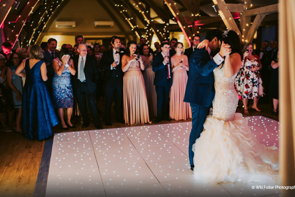 Wedding-couple-enjoy-first-dance-at-Bassmead-Manor-Barns