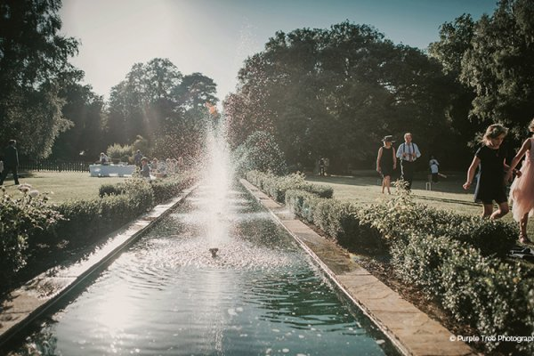 Water feature in the gardens at Woodhall Manor wedding venue in Suffolk | CHWV