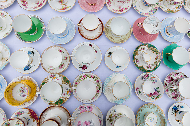How to host a quintessentially English wedding afternoon tea party - Tea cups | CHWV