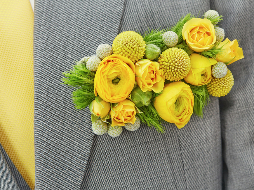 Wedding Ideas By Colour: Yellow Groom's Accessories - Buttonhole | CHWV