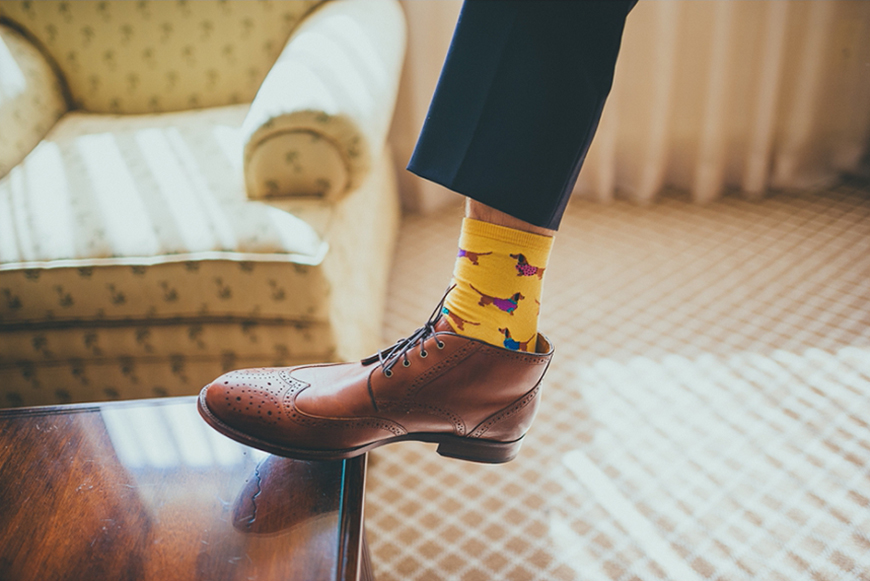 Wedding Ideas By Colour: Yellow Groom's Accessories - Socks | CHWV