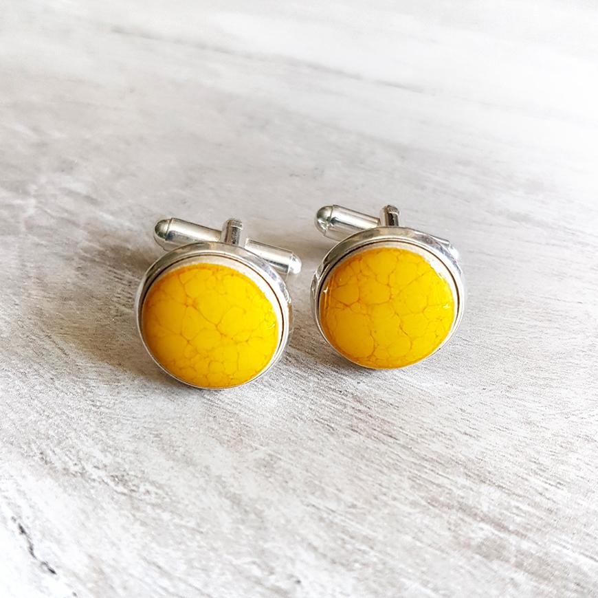Wedding Ideas By Colour: Yellow Groom's Accessories - Cufflinks | CHWV